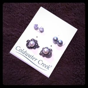 New in box trio set sterling silver earrings